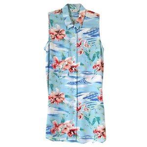 Equipment Hawaiian print collared sleeveless top